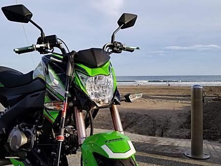 BOSSリハビリZ125PRO+LEKIストック由比ガ浜.jpg